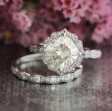 moissanite vintage engagement rings bridal set moissanite floral engagement ring and by lamoredesign