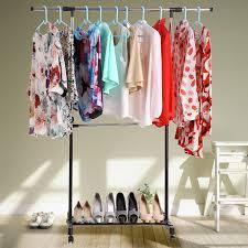 homdox adjustable single clothes rail garment rack hanging rail