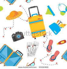 travel items images Seamless pattern travel items including suitcase stock vector hd jpg