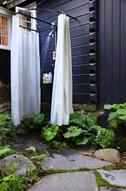 backyard with portable shower enclosure outdoor shower