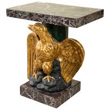 antique marble top pedestal table federal style giltwood carved eagle marble top pedestal table