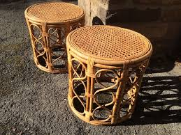 round wicker end table tiki inspired pair of woven cane round end tables attainable vintage