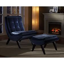Walmart Chair And Ottoman Tufted Occasional Chair And Ottoman Blue Velvet Walmart Com