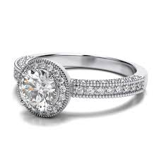 vintage halo engagement rings vintage halo engagement ring in 14k white gold si h i
