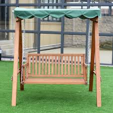 Outdoor Swing With Canopy Outdoor 2 Person Larch Wooden Swing Loveseat Porch Swings