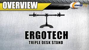 Ergotech Triple Horizontal Lcd Monitor Arm Desk Stand Ergotech Triple Desk Stand With Telescoping Wings Overview Newegg