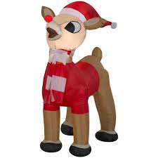home depot inflatable outdoor christmas decorations rudolph and friends christmas inflatables outdoor christmas