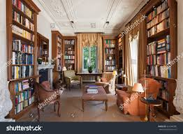 Living Room In Mansion Interiors Classical Library Period Mansion Stock Photo 331244396