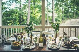 outdoor dinner party decor with la crema wines camp makery