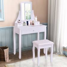 white makeup vanity table goplus white makeup dressing table vanity desk and stool set with
