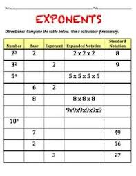 exponents table worksheet my own teacher resources pinterest