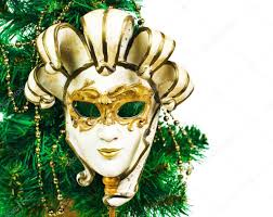christmas decoration with tree and carnival mask on a white