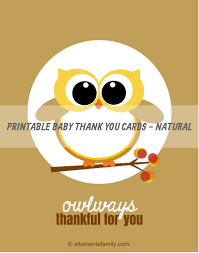 free printable baby owl thank you cards free printable owl and
