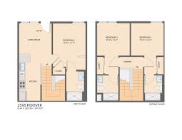 Townhome Floor Plan by Element Usc Student Housing Community For Rent Near Usc