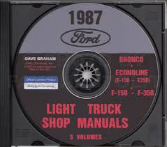 1987 ford pickup truck repair shop manual econoline van f150 f250