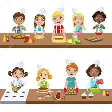 cours de cuisine enfants enfants dans les cours de cuisine image vectorielle topvectors