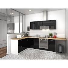 cuisine angle city cuisine complète angle réversible l 2m80 noir laqué brillant