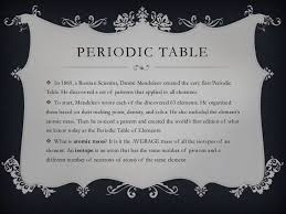 Who Invented Periodic Table The Periodic Table Notes