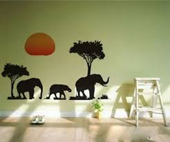 amazon com african elephants trees sunset removable vinyl wall