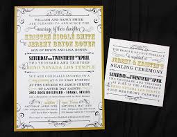 wedding reception program sle gold black vintage steunk poster style lds wedding