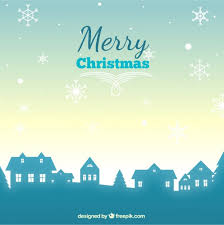 christmas village silhouette background vector free download