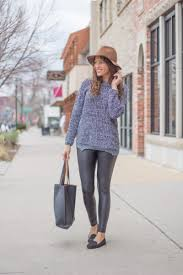oversized sweater leather leggings hat flats long sweaters