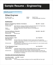 Sample Resume Of Engineering Student by 9 Student Resume Free Sample Example Format Free U0026 Premium