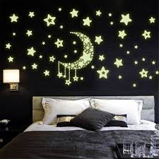 yika glow the dark luminescent moon stars wall stickers green package included sheet moon star stickers