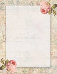 printable vintage shabby chic style floral rose stationary on wood