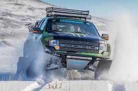 Ford Raptor Snow Truck - ford f 150 svt raptor gains snowmobile tracks thanks to ken block