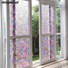 Window Decor Film 45x200cm Privacy Textured Static Cling Stained Glass Window Film
