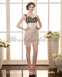 allens bridal satin and lace one shoulder short sheath cocktail