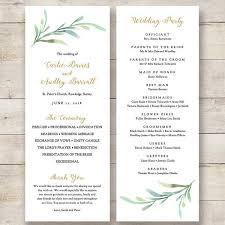 printable greenery wedding program order of service templates to