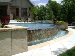 rectangular pool with waterfall in ground pools and custom