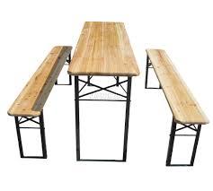 wooden folding beer table bench set trestle party pub garden