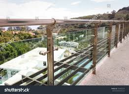 Banister Pole Stainless Steel Railing Pole Holder Balcony Stock Photo 176455313