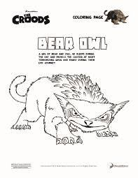image bear owl coloring page fact jpg the croods wiki fandom