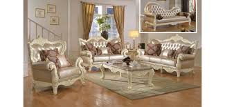 Beige Leather Living Room Set Wood Trim Pearl Leather Living Room Set 674
