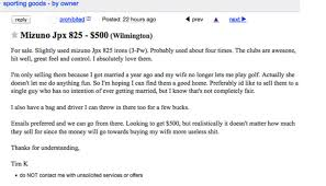 this dude u0027s craigslist ad for his golf clubs is the saddest thing