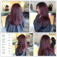 sombre balayage foils with a red twist matthew jonathan