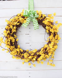 forsythia wreath five minute dollar store forsythia wreath the happy housie