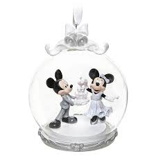 ornament mickey and minnie wedding globe