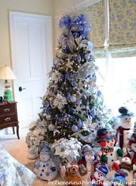 Christmas Tree With Blue Decorations - winter white christmas tree white christmas trees white