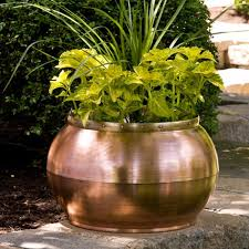 Low Bowl Planter by Copper Bowl Planter With Decorative Band Outdoor