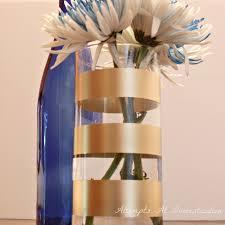 Striped Vase Spray Painted Gold Striped Vase