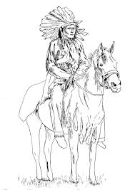 native american on his horse native american coloring pages