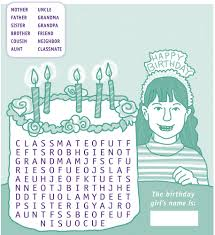 happy birthday word search for girls to print activity shelter