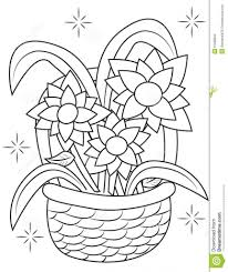 drawing of flower basket flower basket coloring page free