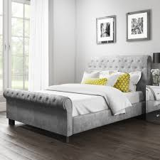 Grey Sleigh Bed Safina Roll Top Sleigh Bed In Grey Velvet Furniture123