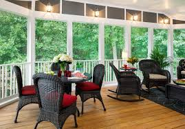 Desig For Black Wicker Patio Furniture Ideas Exterior Glass Enclosed Patio With White Fence And Black